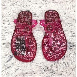 NWOT Michael Kors Logo Pink Jelly Sandals